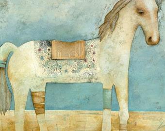 The Whimsical White Horse - Print