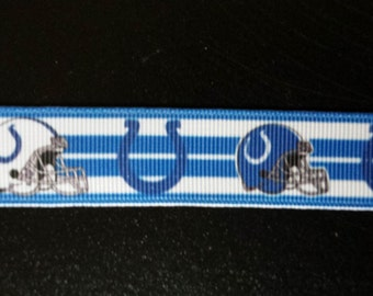 """7/8"""" Indianapolis Colts Inspired Grosgrain Ribbon"""
