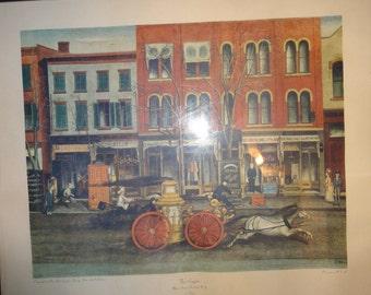 1950's E. Opper Fire Wagon  Litho Print.