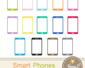 Smart Phones Clipart, Cell Phone, Tablet, Phablet for Planners, Digital Scrapbooking, Invitations, cupcake toppers, Stickers, Labels
