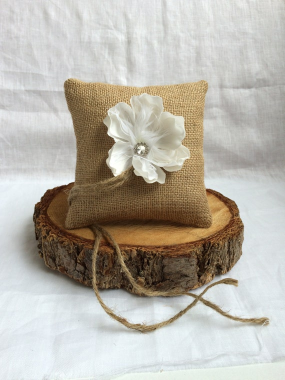 Ready to ship! Ring bearer pillow with feather flower, rustic wedding decor, vintage wedding, cottage chic