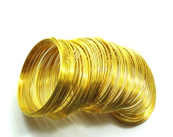 Gold Plated Stainless Steel Memory Wire, Gold Wire 1mm/ 106 Loops/Circles