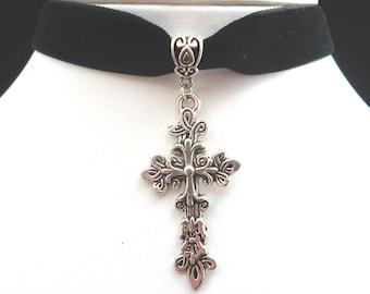 Black Velvet Silver Filigree Cross Choker Necklace Victorian - Gothic