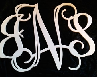 Custom Wood Carved Monogram Initials 24x32 Painted