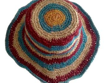 Multicolored 100% THC Free Pure Hemp Sun Hat