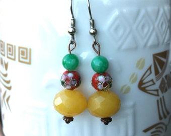 Flowering Jade Earrings Chinese New Year Asian