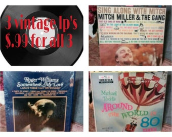 set of 3 vintage lps, Around the World in 80 Days, Mitch Miller, Roger Williams, albums, vinyl, movie, soundtrack, album, record