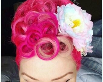 Single Pastel Peony Hair Flower