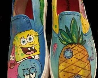 Custom Hand Painted Sponge Bob Shoes, Hand painted kid shoes, Custom one of a kind painted shoes