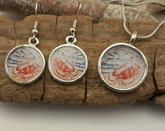 Crab and Beach Silver Earrings and Pendant Necklace Set