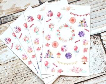 Birthday Deco Planner Sticker Sheet - Planner Stickers