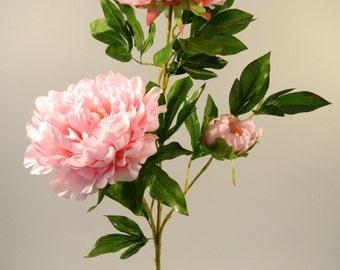 "Silk Peony Spray in Pink - 42"" Tall"