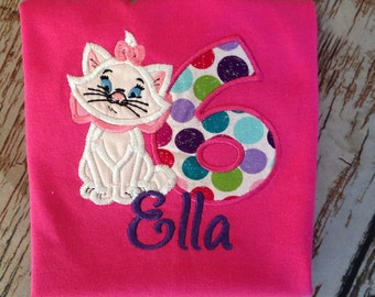 Custom embroidered kitten birthday shirt
