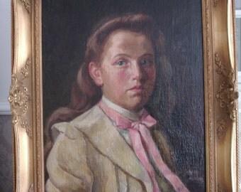 Oil painting portrait Baroque frame