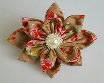 brown floral fabric flower barrette clip, shabby chic flower, wedding hair accessories, fabric flower hair clip, summer accessories