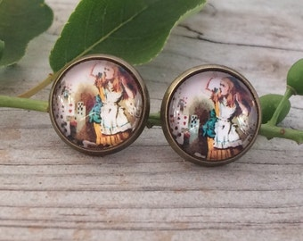 Alice in Wonderland Playing Card Gold Stud Earrings-Lewis Carroll