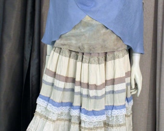 Long summer  skirt ,white-blue color ,tiered.Style boho chic style.