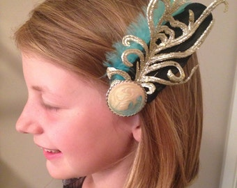 Gold & Mint Feather Fascinator