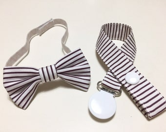 Striped BOW TIE SETS and matching IVORY SHAWL