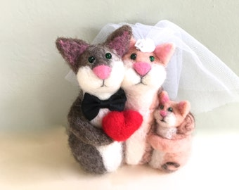 Just married cake topper family wedding needle felted cat cats bride and groom mr and mrs married with children child