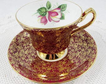 Windsor Red Tea Cup and Saucer