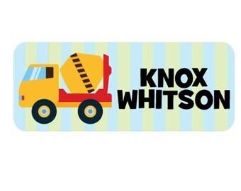 School Labels, Personalized School Name Stickers, Waterproof Labels, School Labels, Cement Mixer, Dump Truck Labels