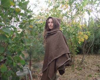 Brown woven elven cloak,medieval coat,poncho,hooded