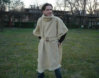 RESERVED FOR CHRISTINA!Woven woolen poncho,elven coat,medieval tunic,mantle in natural colour of wool