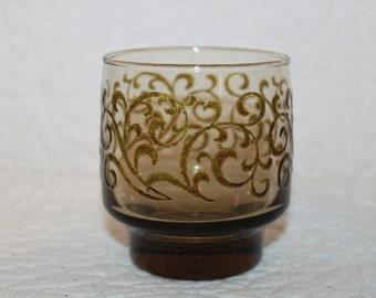 C3 Prado Libbey Rock Sharpe Old Fashioned Glass 1975 Raised Brown Scrolls On Tawny Brown