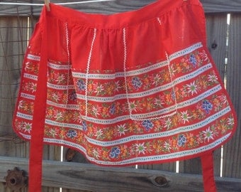Vintage Red Floral Half Apron with Five Pockets
