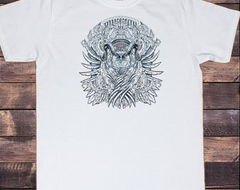 Men's White T-Shirt Gothic Owl Feather Linear Illustration  Print TS185