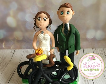 Bike themed Bride and Groom Wedding Cake Topper - Keepsake