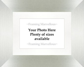 Brushed Silver Photo Picture Frame - Choose Size and Mount Colour