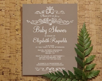 Mocha Baby Shower Invitation Template| Boy Girl Baby Shower Invitations | Mocha Baby Shower Invites | Printable, Digital PDF, DIY Printed