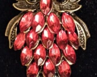 Red owl brooch