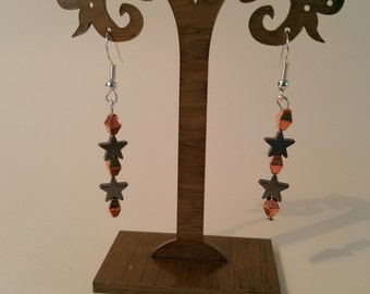 Hematite and rose gold earrings
