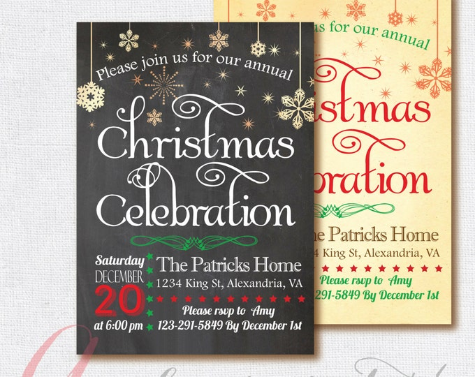 Christmas Invitation, Christmas Invite, Holiday Invitation, Christmas Party. Chalkboard Christmas invite PRINTABLE, Holiday Invite