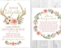 "Floral Antler Watercolour Girls Birthday Invitation & Book Note Set - Boho Tribal Woodland - Peach Gold - 5x7"" - Digital File - Printable"