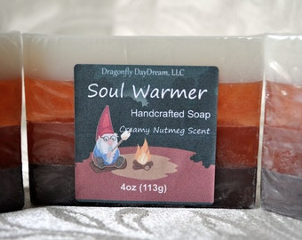 SOUL WARMER   Handcrafted Soap   NUTMEG Scented soap   Holiday Soap   Christmas soap   Handmade soap   Soap for kids   Stocking Stuffer