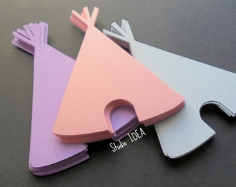 Teepee Die cut Embellishments - 4in, 5in Paper Tepee Embellishments- Choose Your Colors & Size