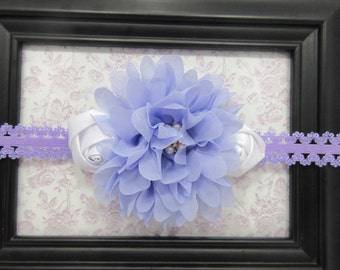 Light Purple and White Embellished Flower Headband, Flower Girl Lacy Headband, Photo Prop