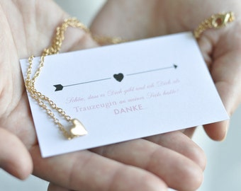 Maid of honor Thanksgiving - map + Heart Necklace in gold