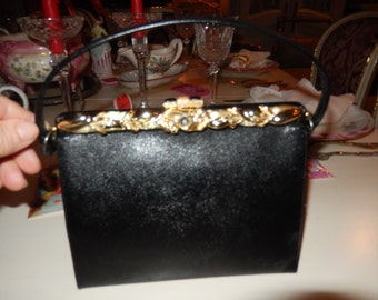 BLACK JEWELED HANDBAG