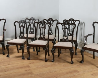 Antique English Set of 8 Eight Georgian Chippendale Style Carved Mahogany Dining Chairs (Circa 1880)