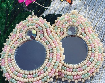 Iridescent Pearl Beaded Mirror Earrings - Pow Wow Style