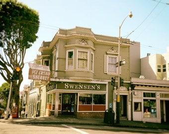 San Francisco Photography, Black and White, Swensen's Ice Cream, California, Kitchen Decor, Fine Art Print, Wall Art, Home Decor