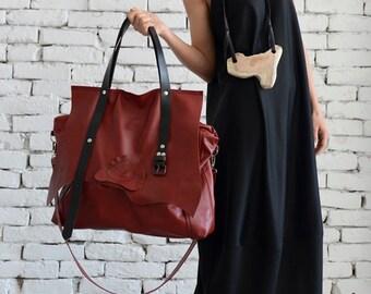Maxi Red Genuine Leather Bag/Large Tote Bag/Extravagant Belt Bag/Oversize Handbag/Maxi Tote/High Quality Leather Bag by METAMORPHOZA