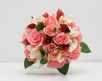 Pretty silk pink rose white cymbidium orchid and deep pink calla lily wedding bouquet and boutonniere set