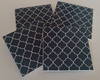 Set of Four Blue and White Trellis Pattern Coasters / Trellis Coasters / Ceramic Coasters