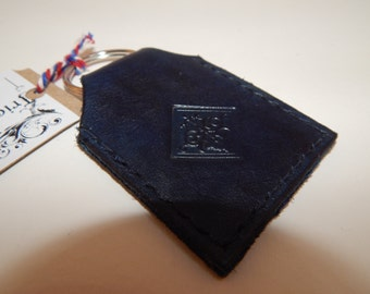 purple hand embossed leather keyring
